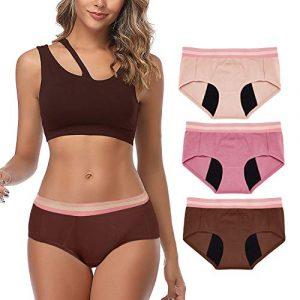 Intimate Portal Mujer Ropa Interior Protectoras Absorbentes Ligeras para la Incontinencia el Mentruación Periodo Rosa Beige Marrón (PK de 3) M 2
