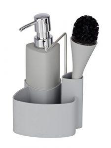 Wenko Spül-Set Empire - Spülmittelspender, Spülbürste, Handtuchhalter, Fassungsvermögen: 0,25 l, Soft-Touch Keramik, 11 x 19 x 12,5 cm, grau 2