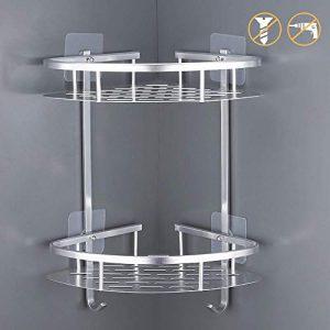 Estantes para Ducha, Entramado de baño, Estantes de baño de Aluminio Espacial Perforado, con Gancho para Colgar, Organizador de Ducha 2 Niveles,para Champú y Gel De Ducha (Dos capas de plata) 10