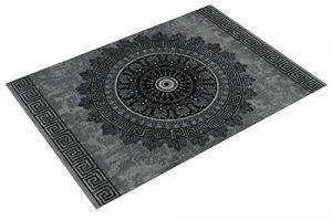 Alfombra Diseño Salón Estampado Mandala Pelo Corto Estilo Barroco Gris Y Negro, tamaño:120x170 cm 7