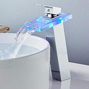 Grifo de baño moderno de alta cascada Grifo de lavabo LED Grifo de lavabo Latón Temperatura de cascada Cambio de colores Mezclador de baño Grifo 10