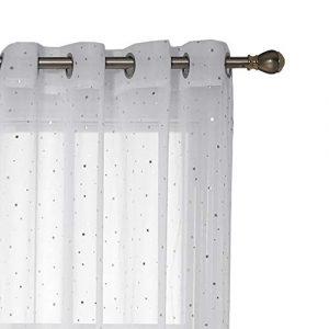 Deconovo Visillos para Ventanas Efecto Lino Cortina Traslúcida Voile para Dormitorio Salón Balcón 2 Paneles 140 x 245 cm Blanco Diseño Estrella 4