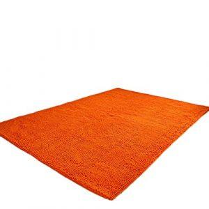 Alfombra Shaggy Largo Cálido y Acogedor Color Sólido para Salón Dormitorio Naranja 50cm x 80cm 5
