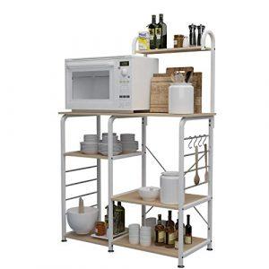"""DlandHome Soporte para carro de microondas 35.4"""", Almacenamiento de utilidad de cocina 3 niveles + 4 niveles para Baker's Rack & Especiero Organizador Plataforma de la estación de trabajo, Maple 7"""