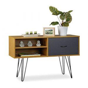 Relaxdays Aparador Salón Retro, Mesa Consola, Mueble Auxiliar Vintage, Sideboard, DM-Metal, 62x100x38 cm, Multicolor 7