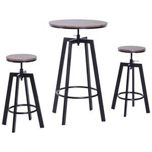 HOMCOM Conjunto Mesa y 2 Sillas Taburetes Mueble Redonda Bar Restaurante Juego de 3 Piezas Comedor Altura Ajustable Madera y Acero 1
