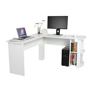 Yosoo Forma - L Mesa Escritorio de Computadora, PC, Ordenador Portátil con Estantería de Libros, Para Esquina de Oficina y Estudio de Casa (Blanco) 3