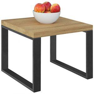 Comifort MS55AH - Mesa auxiliar moderna de madera de Roble Macizo y patas de acero en color grafito, estilo industrial, mesas de cafe, mesitas nido 55x55x45 cm (ROBLE AHUMADO) 2
