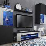 Vladon Conjunto de Muebles de Pared Movie, Cuerpo en Negro Mate/Frentes en Negro Mate y óxido de hormigón con iluminación LED Azul 11