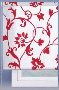 Estores Basic Roll Up Estor Enrollable Traslúcido Estampado, Tela, Blanco/Rojo, 60x180 cm 6