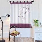 laamei 1Pc Voile Cortina Translúcidas Visillos Cortas con Bordado Floral Decoración para Ventanas Habitaciones Dormitorios Salones Morado, 140cmx145cm 12