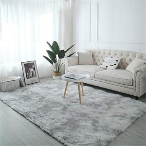 TROYSINC - Alfombra de Pelo Largo, Lavable, Moderna, mullida, para salón o Dormitorio, Gris Claro, 200 * 250cm 3