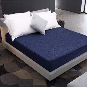 CHLCH Protector de colchón - Microfibra - Antiácaros - Transpirable - Funda para colchon,Funda de colchón Impermeable a Prueba de Humedad en Relieve Azul Marino (Giro) 90X190 + 30cm 4