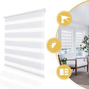 Deswell Día y la noche persianas, persianas de rodillos para puerta de la cocina púrpura, solución fácil o perforación 70 x 230 cm Blanco 3
