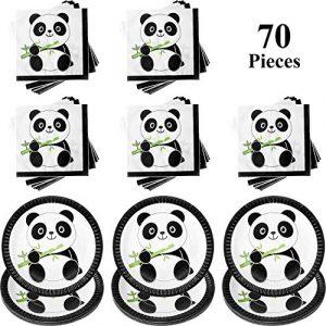 Kit de Decoración de Fiesta de Panda, Incluye 30 Piezas Platos de Pastel de Papel de Panda y 40 Piezas Decoraciones de Fiesta de Cumpleaños de Servilletas de Bebé Panda para Niños y Ducha de Bebé 9