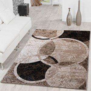 T&T Design Alfombra De Salón Moderna Diseño Círculos Jaspeada En Marrón Beige Negro, Größe:160x220 cm 9