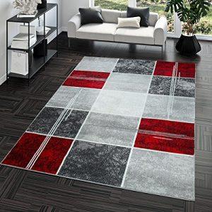 T&T Design Alfombra De Salón Moderna Económica Diseño Cuadros En Gris Rojo Al Mejor Precio, Größe:120x170 cm 6