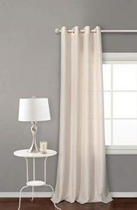 Cortina Semi-translucida con 8 ollao de 140x260 para salón, habitación y dormitorio. Modelo Falso Lino (Beige) 1