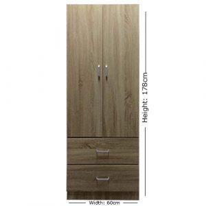 Lyon - Armario de 2 puertas y 2 cajones de 60 cm de ancho, acabado en roble sonoma 6