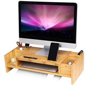 SONGMICS Soporte para Monitor de Bambú, Elevador de Monitor, Diseño Ergonómico, Ordenador Portátil, Espacio de Almacenaje para Utensilios de Oficina LLD213 2