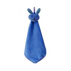 GOTTING Coral infantil del bebé de terciopelo toalla de mano animal de la historieta del conejo de cocina colgados baño Wipe toalla Estropajos niños Pañuelo Azul 10