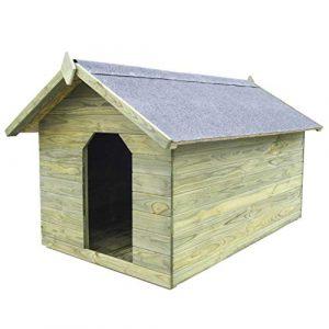 Tidyard Casa de Perros jardín Caseta de Exterior para Perros tejado Abierto Madera Pino impregnada FSC 8