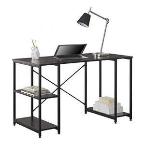 [en.casa] Mesa Escritorio Aarhus Escritorio de Ordenador 75 x 120 x 60 cm con 3 estantes Mesa de Oficina Negro y Color Nogal 6