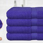BellaCasa Casabella - Juego de 4 Toallas de baño (tamaño Grande, 100% algodón Egipcio Peinado), algodón, Azul, 4 Bath Sheet 14