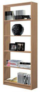 Estantería librería Biblioteca Abierta Color Roble, 5 estantes y molduras Decorativas para Oficina, despacho o Estudio. 180cm Altura x 74cm Ancho x 25cm Fondo 10