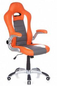hjh OFFICE RACER SPORT - Silla gaming o de oficina, color naranja y blanco 10