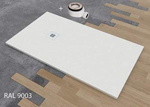 PLATO DE DUCHA DE RESINA TEXTURA PIZARRA CARGA MINERALES VARIAS MEDIDAS Y COLORES 80x120 cm Blanco RAL 9003 8