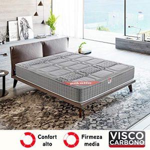 PIKOLIN, Colchón viscoelástico carbono de gama alta, 90x190, máxima calidad y confort, firmeza media, Altura 26 cm. Modelo Troya 4