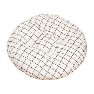 Nowbetter - Cojín Redondo para Silla de Oficina, Comedor, Muebles de jardín, 40 x 8 cm, diseño de cuadrícula, Color Blanco 6