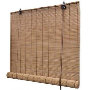vidaXL Persiana/Estor Enrollable marrón de bambú 80 x 160 cm 5