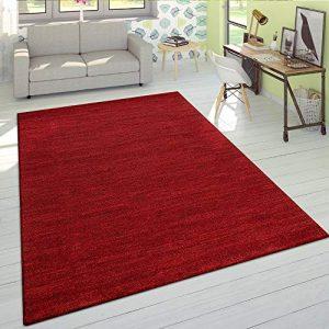 Alfombra Salón Pelo Corto Moderna Monocolor Velour Suave Jaspeada Rojo Liso, tamaño:80x150 cm 1