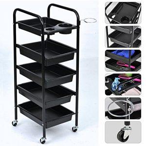 Mueble de almacenaje con cortador, mueble de peluquería de almacenamiento negro 5estantes con ruedas para salón de peluquería, maquiallage cocina 4