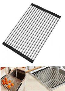 DEBEME Escurreplatos Enrollable Multiusos Plegable de Acero Inoxidable para Fregadero, escurreplatos de Cocina, Color Negro 7