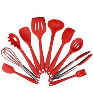 Set de utensilios de cocina de silicona de 10 piezas - espátulas, cucharas y tornillo, kit de herramientas de cocina casero premium resistente al calor 7