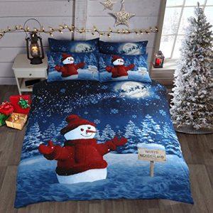 Juego de ropa de cama y funda de edredón con un diseño navideño e invernal con un muñeco de nieve vestido de rojo, confeccionado de algodón, Algodón, Rojo, Doublé 9