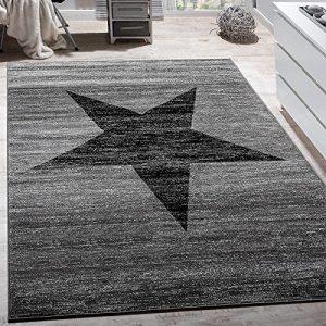 Paco Home Alfombra De Diseño con Estampado Moderno De Estrella De Velour Corto Mezclada En Gris Y Negro, tamaño:120x170 cm 5