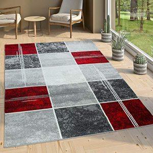 Paco Home Alfombra De Diseño - A Cuadros Efecto Mármol Jaspeado Gris Rojo Moteado, tamaño:200x280 cm 8