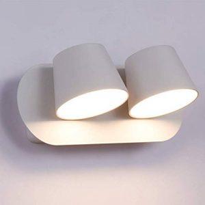 Aplique Aplique Interior con 2 focos ajustables LED 2 x 6W Blanco cálido 3000K para dormitorio Cabecera de lectura para niños Sala de estar moderna 8