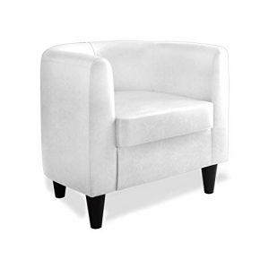 Confort24 Mussy Butaca de Salón o Dormitorio Sillon Individual Muebles de Diseño Moderno Pequeña para Decoracion en Piel Sintética Blanca 1
