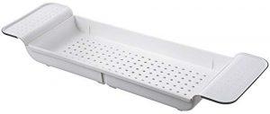 Escurreplatos para fregadero, cubertería, bandeja de secado para bañera, accesorios de baño, almacenamiento compacto, extensible, lateral resistente al óxido, resistente al agua, color blanco 9