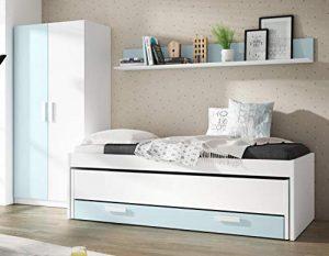 Pack de Muebles Dormitorio Juvenil Color Blanco y Azul (Cama Nido + Estante + Armario) Sin Somieres 10