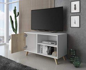 SelectionHome - Mueble TV 100 con puerta, mueble de salon comedor, Modelo Wind, color Blanco y Puccini, medidas: 92 cm (largo) x 40 cm (fondo) x 57 cm (alto) 7