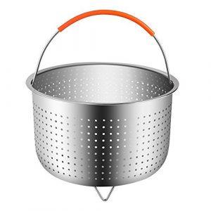 Cestillo Vapor de Acero Inoxidable para una Cocina al Vapor - Cesta de Vapor para 6 u 8 Cuartos de galón de Olla instantánea a presión de Olla, con manija de Silicona Cubierto para cocinar Verduras 10