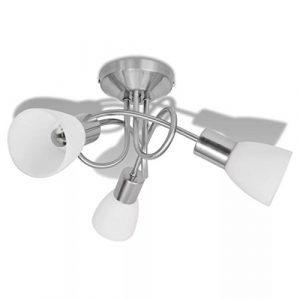 vidaXL Lámpara de Techo Moderna E14 con 3 Tulipas Metal Cristal Gris y Blanca 8
