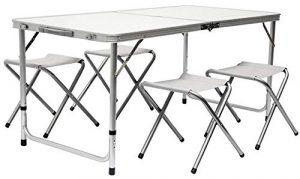 AMANKA Mesa para Acampada 120x60x70cm Incl 4 Taburetes Plegable portátil como si Fuera un maletín Altura Regulable para pícnic Camping Gris Claro 8