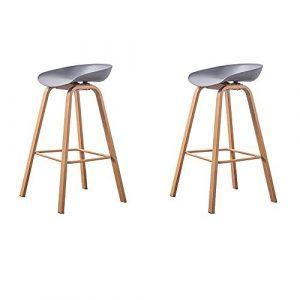 GroBKau - Juego de 2 taburetes de Bar de Cocina, Asiento de Polipropileno, sillas, Patas de Metal, taburetes Altos, Altura del Asiento 29.5 Pulgadas 3